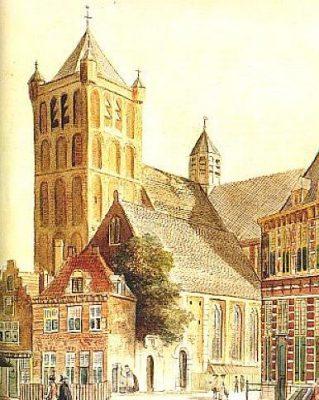 Noordmonsterkerk in Middelburg gezien vanuit het Zuidwesten - 1750