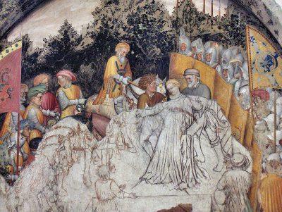 Opzetten van een fresco in Palazo Trinci - Foto Georges Jansoone commons.wikimedia.org.