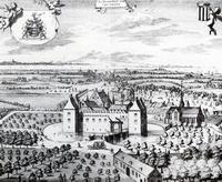 Oude tekening van Kasteel Kruiningen en de kerk