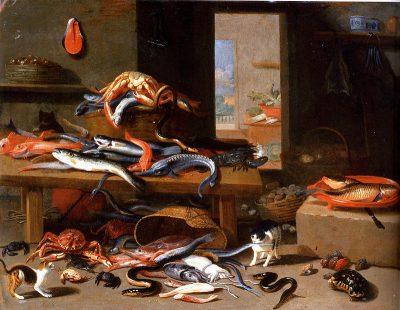 Paling, geliefd door de eeuwen, stilleven van Jan van Kessel