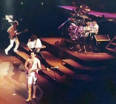 Queen tijdens een optreden in Frankfurt 1984