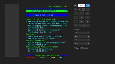 Scheepvaartbericht op teletekstpagina. Bron: anwb.nl