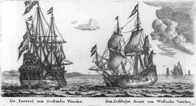 Schepen van toen; De Paerrel een OostIndievaarder en Den Dubbelen Arent een WestIndievaarder afb Reinier Nooms ca.1650