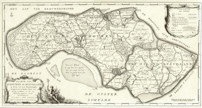 Schouwen-Duiveland werd steeds kleiner. Waar het ooit ovaal van vorm was, had de natuur in 1574 al haar wetk gedaan en was alleen de Groote Plaat nog over