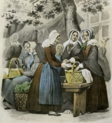 Schouwse vrouwen op de markt - Beeldbank archief Schouwen-Duiveland