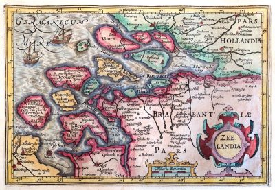 Situatie in Zeelandia in 1609 volgens de kaart van Hondius
