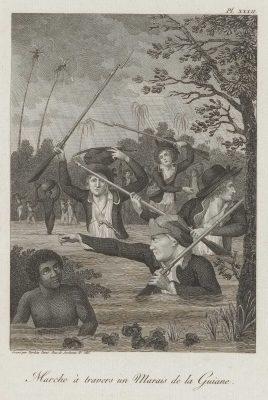 Soldaten, ploeterend door het moeras tijdens de slavenopstand