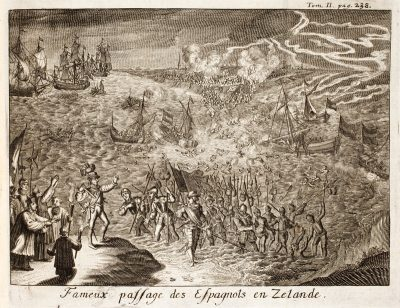 Spaanse troepen onder Mondragon steken het Zijpen over tussen Schouwen en Duiveland