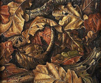 Stilleven met eikenbladeren