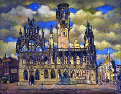 Verwoest stadhuis van Middelburg