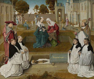 Vier kanunniken met de heiligen Augustinus en Hieronymus bij een open graf met de Visitatie.