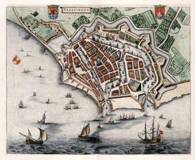 Vlissingen in 1649. Kaart van Blaeu. In het centrum de Sint Jacobskerk.