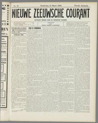 Voorpagina Nieuwe Zeeuwse Courant, twee dagen later