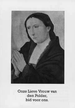 Voorzijde van een vouwprentje met een afbeelding van het schilderij van O.L. Vrouw van den Polder