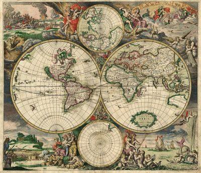 Wereldkaart van Gerrit Schagen uit 1689