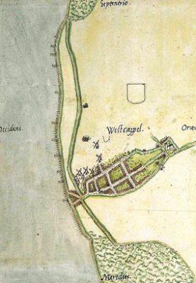 Westkappele in 1545 volgens de kaart van Van Deventer