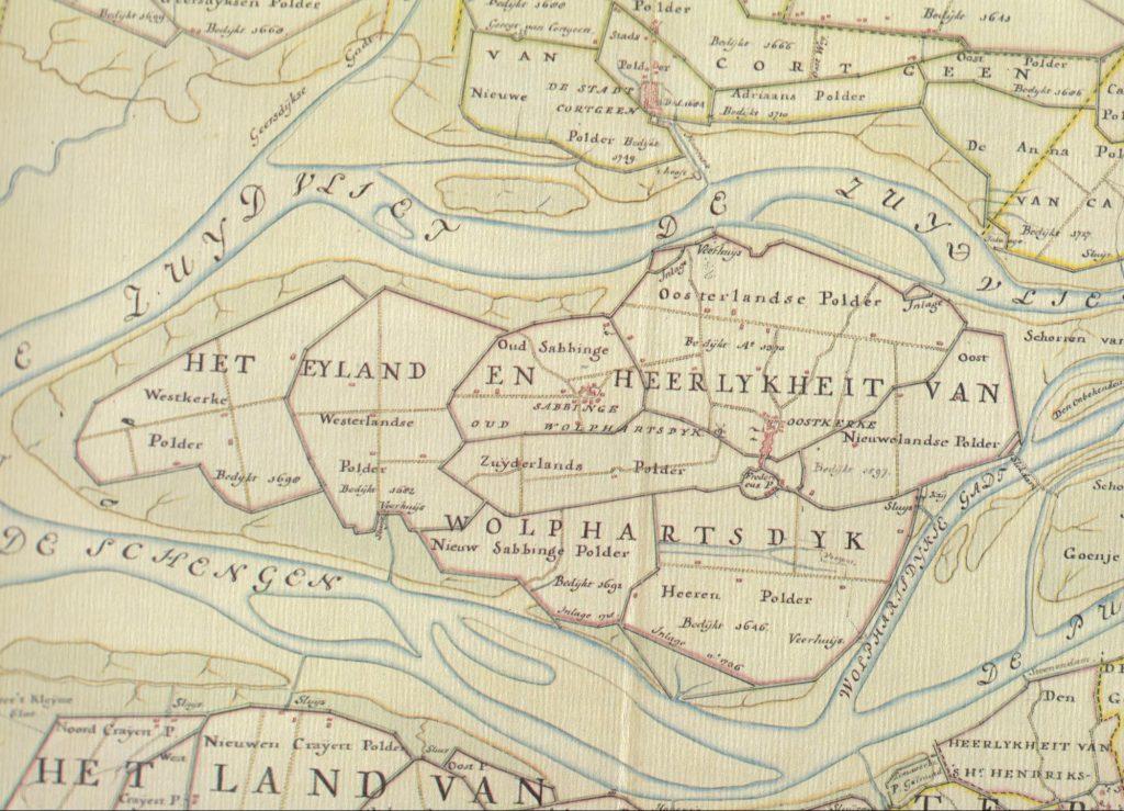 Wolphaartsdijk op een kaart van Hattinga uit 1753