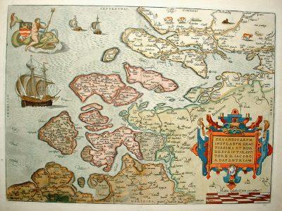 Zeeuws-Vlaanderen omstreeks 1730, beneden in de kaart het omstreden gebied.