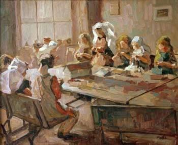 Zeeuwse vrouwen, gezamenlijk aan het naaien