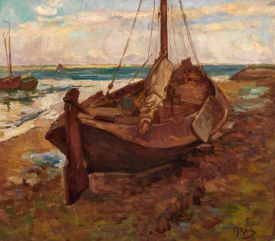 Zeilschip op het strand